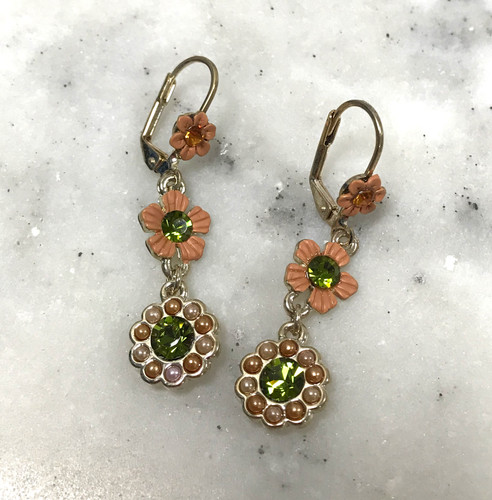 Polished Gold Colored Tan and Khaki Flower Earring