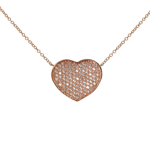 Rose Gold Cubic Zirconia Flat Heart Necklace