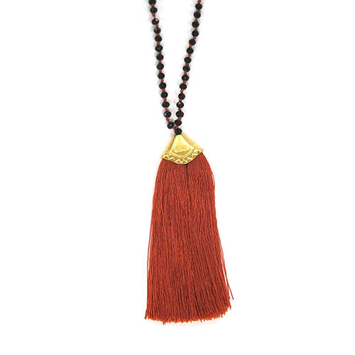 Jet Crystals & Copper Fan Tassel Necklace