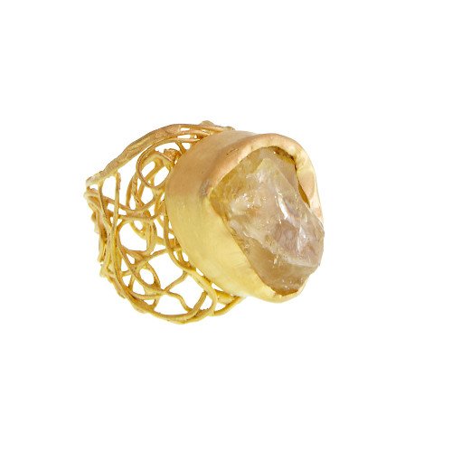 Raw Citrine Gypsy-Chic Ring