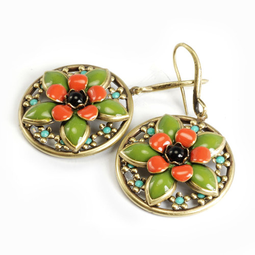 Enamel Flower Medallion Earring