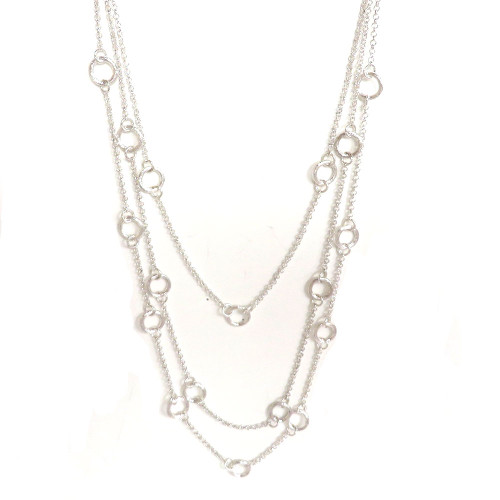 Open Circle Triple Draped Chain Silver
