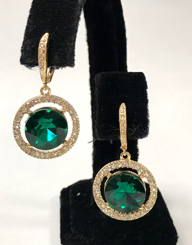 Floating Emerald Crystal Earring