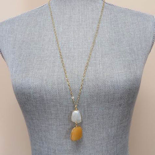 Orange Calcite and Quartz Necklace