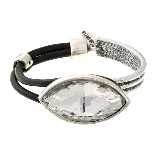 Antiqued Silver Crystal Leather Toggle Bracelet