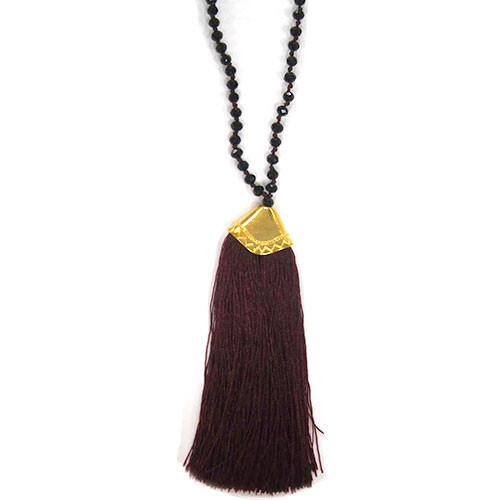 Jet Crystals & Wine Fan Tassel Necklace