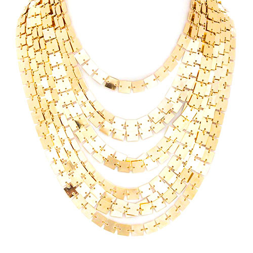 Square Link Tiered Necklace
