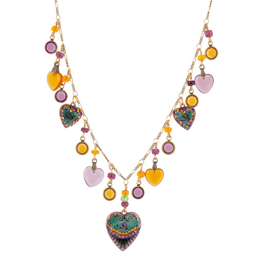 Amber and Amethyst Vintage Heart Necklace