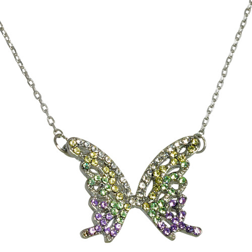 Pastel Crystal Butterfly Necklace
