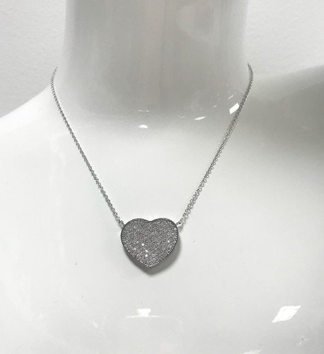 Rhodium Cubic Zirconia Flat Heart Necklace