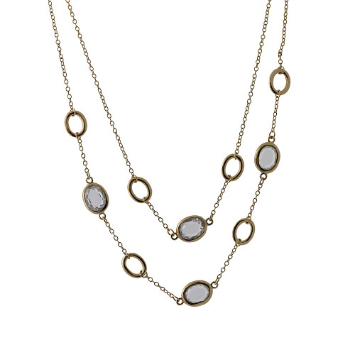 Double Layered Gold/Crystal Chains