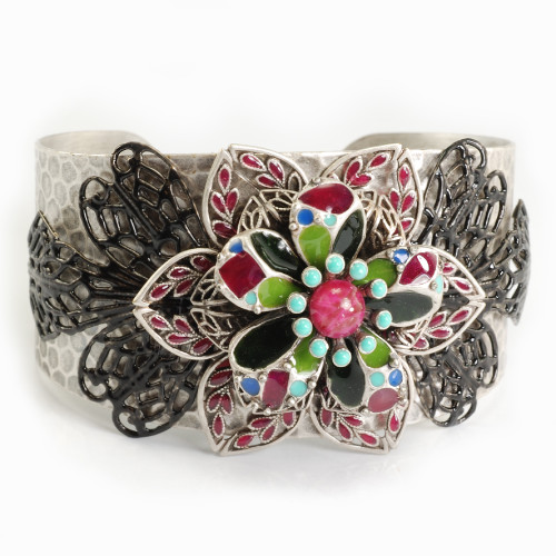 Sunset Flower Antiqued Silver Cuff