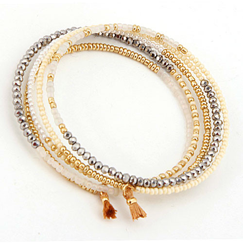 Wire Coiled Seed Bead Bracelets with Tiny Tassel 1