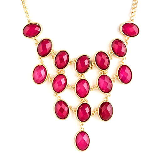 Fuchsia Jeweled Bib Necklace