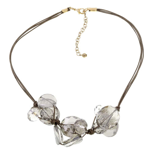 Crystal  Cluster And Leather Bib Necklace