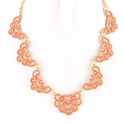Peach Seed Bead Lace Motif Necklace