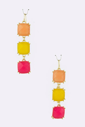Three Linked Fuchsia/Yellow Squares Earring