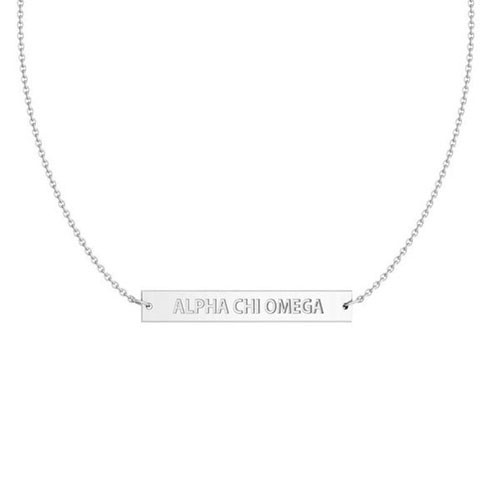 Alpha Chi Omega Silver Infinity Bar Necklace