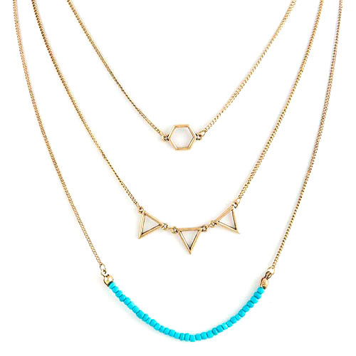 Turquoise  Geometric Layered Necklace