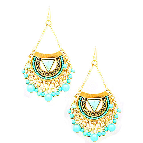 Gold Aztec Tribal Turquoise Dangle
