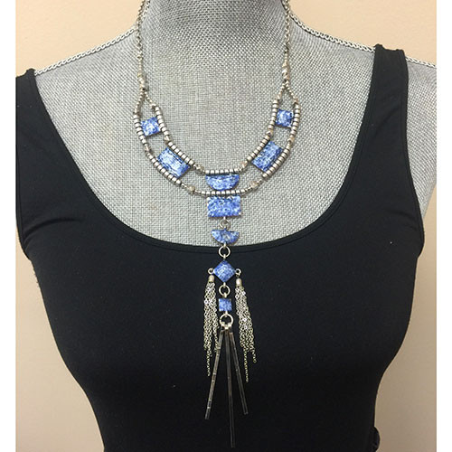 Silvery Azul with Metal Tassels