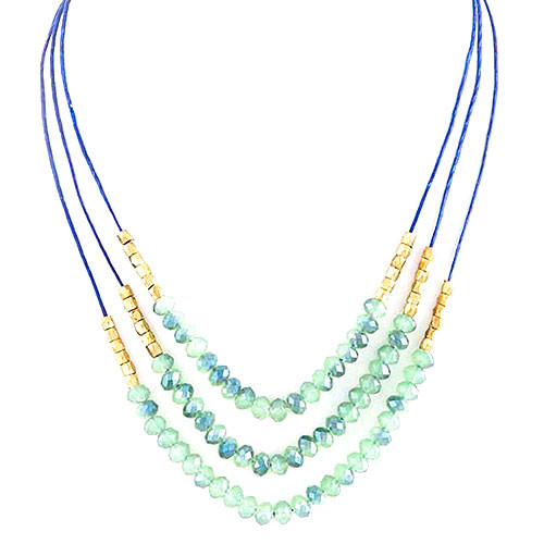 Layered Beaded Strands Necklace Green