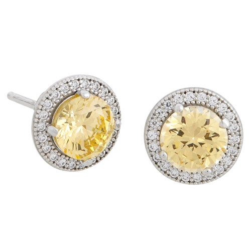 Canary Simulated Diamond Round Stud with Pave Border
