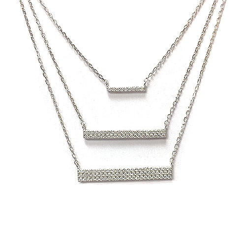 Triple Horizontal C.Z. Layered Bar Necklace