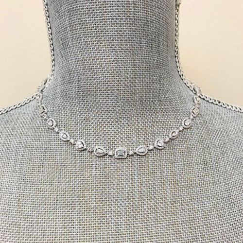 Rectangle, Pear, and Trillion C.Z. Necklace