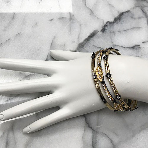 Slim Gold Embellished Bangle Set