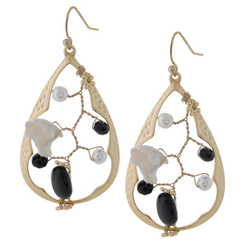 Handmade Wired Open Teardrop Earring B/W
