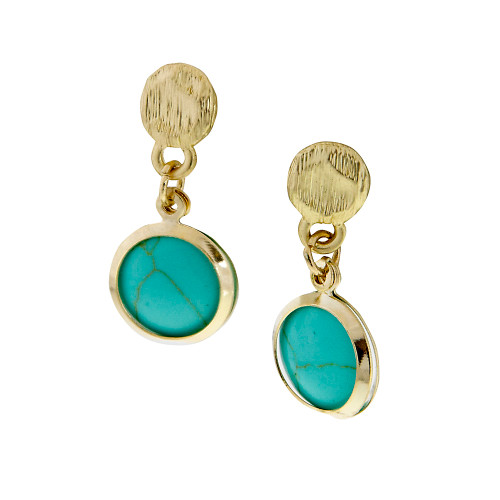 Matte Gold With Turquoise Drop