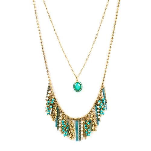 Long Double Layered Turquoise Fringe Necklace