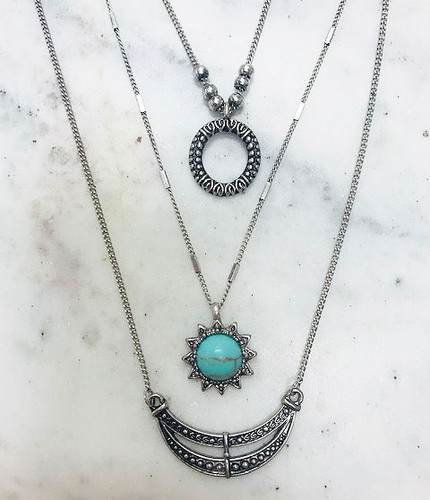Triple Layered Turquoise Sun Necklace
