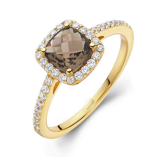 Lafonn's Faceted Square Smokey Topaz Princess Ring