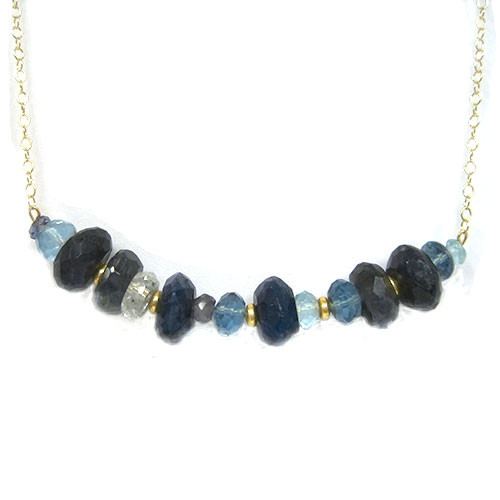 Chunky Aquamarine and Labradorite Bar Necklace
