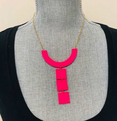 Warhol Tile Necklace Pink