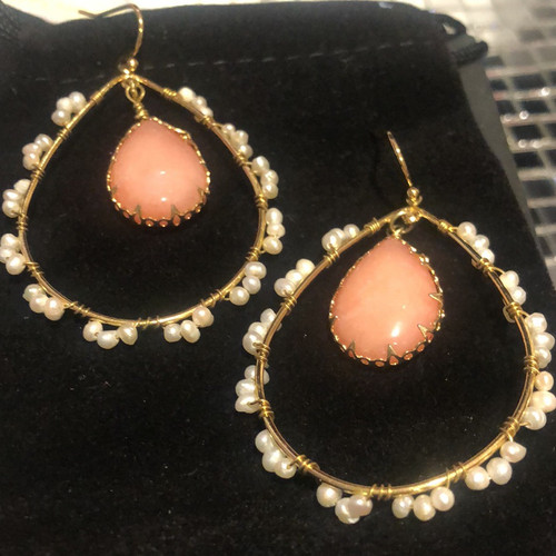Coral Colored Teardrop and Pearl Wrapped Hoop
