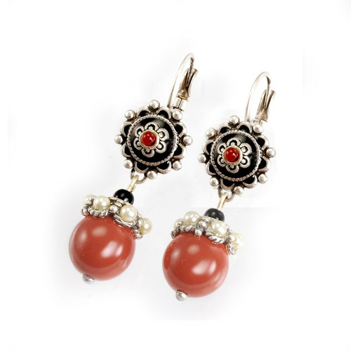 Black and Coral Drop Earrings