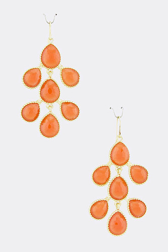Coral Teardrop Branch Earrings