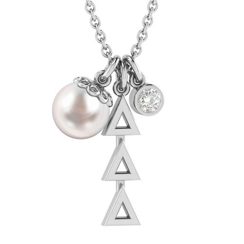 Delta Delta Delta Silver Triple Charm Necklace