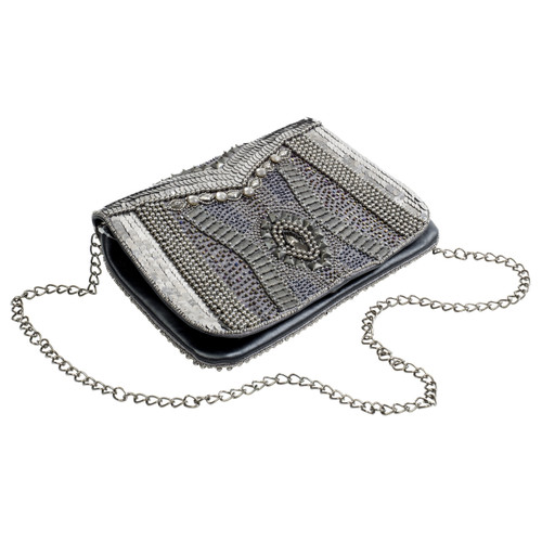 Silver/Gunmetal Beaded Clutch