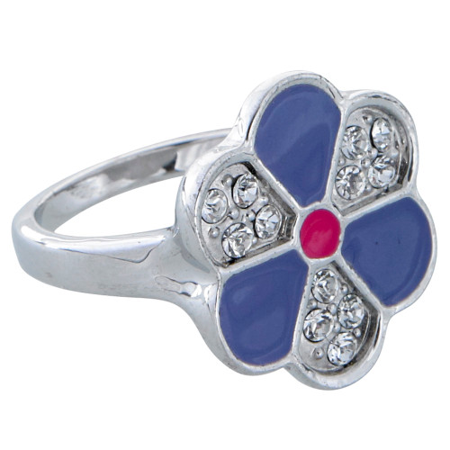 Enamel and Crystal Flower Ring