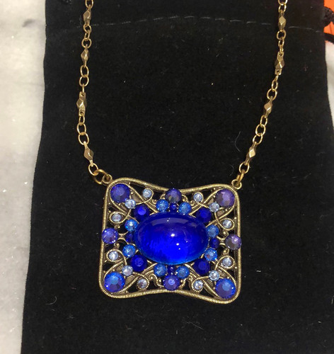 Cobalt Blue Vintage Glass and Crystal Pendant