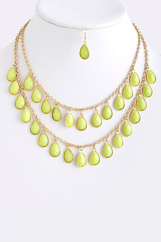 Lime Sherbet Teardrops Layered Necklace
