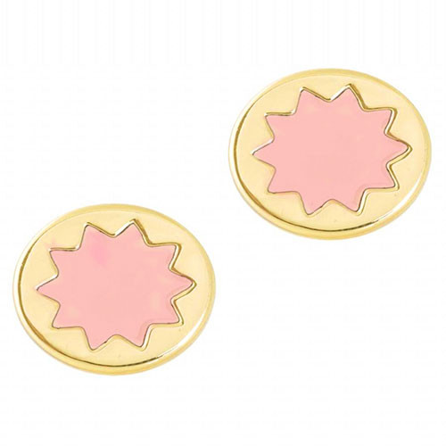 House of Harlow Enamel Pink Sunburst Studs