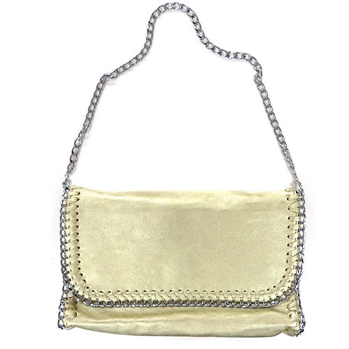 Metallic Gold Chain Edged Clutch