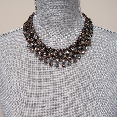 Copper Mesh With Small Multi Crystals Dangle