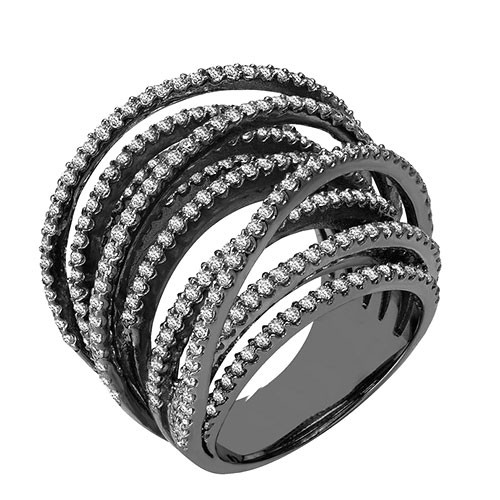 High Set Multi Crossings Black Rhodium Ring