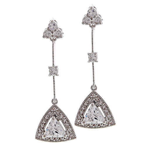 Trillion Cubic Zirconia Drop Earring